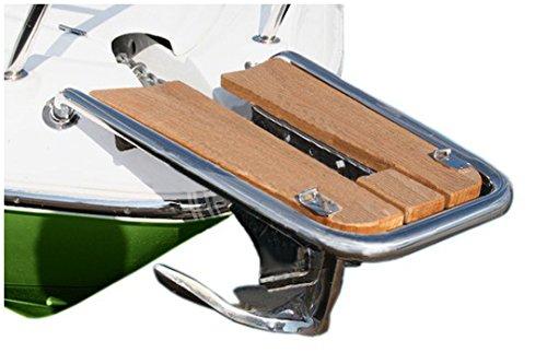 Osculatie Bugspriet Edelstahl Teak-Trittfläche 750x480x330mm verstellbare Halteaufnahme Bugrolle und Wippe
