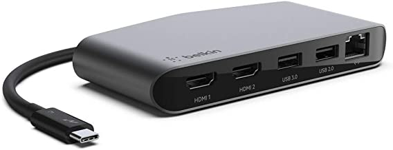 Belkin Thunderbolt 3 Dock Mini W/Thunderbolt 3 Cable (Thunderbolt Dock for MacOS and Windows USB-C Laptops, Dual 4K @60Hz, 40Gbps Transfer Speeds)