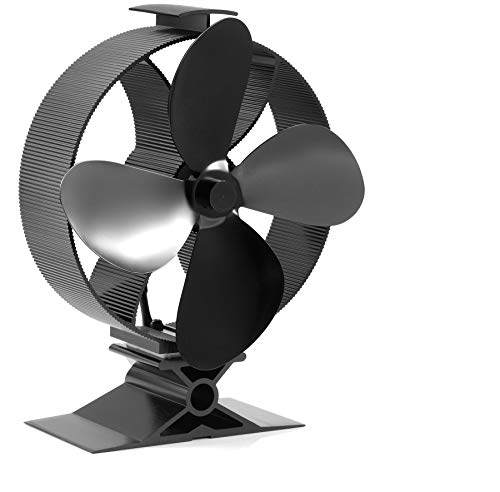 Newest Upgrade Wood Stove Fan, CRSURE Small SF/354 Heat Powered Fan 4-Blade for Wood Burning Stove | Log Burner | Fireplaces, Wood Burner Fireplace Fan for Stoves with Thermometer
