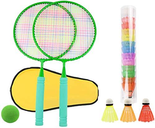 Panelk Deportes al Aire Libre de los niños de Raqueta, la Raqueta de bádminton Juguetes y Bola de Tenis de los niños 2 en 1 Grupo,Green