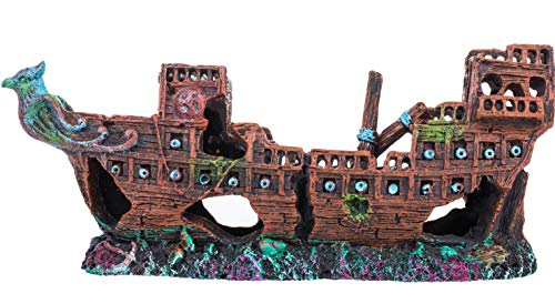 CREOMG Aquarium Pirate Ship Decorations Fish Tank Ornaments - Resin Material Shipwreck Decorations, Eco-Friendly for Freshwater Saltwater Aquarium Sunken Ship Accessories