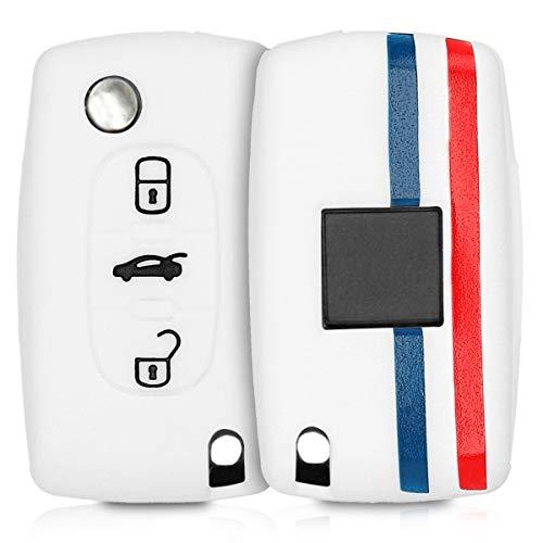 kwmobile Funda Compatible con Peugeot Citroen Llave de Coche de 3 Botones - Carcasa Protectora Suave de Silicona - Bandera Francesa
