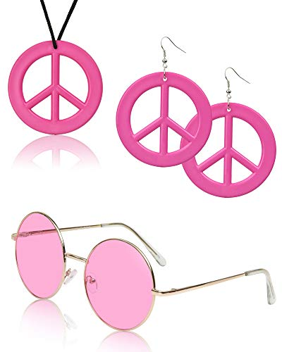 SUNNYPRO 70's Accessories for Women 70s 70 Costumes Outfits Circle Sunglasses Hip Pink 3 1960's Womens Accessories Belt