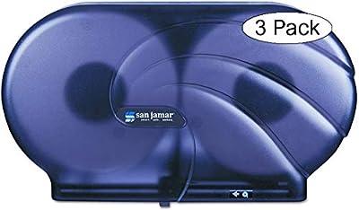 "San Jamar R4090TBK Twin 9"" JBT Toilet Tissue Dispenser, Black Pearl"
