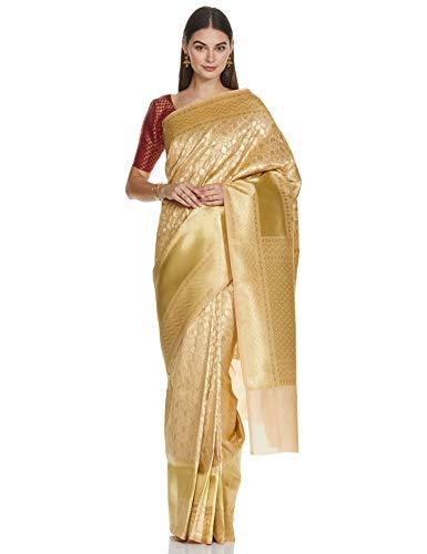 chhabra 555 Banarasi art silk ready to wear Saree (XWVX9463_ Gold_ Onesize)