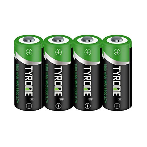 Tyrone 18500 Button top Rechargeable Batteries, 3.7V 1500mAh Lithium Battery 4 Pack