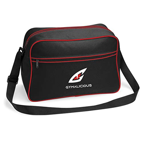 GymnastiekLichtgewicht Rits Voorkant Met zakken binnen schoudertas (Zwart/Rood)