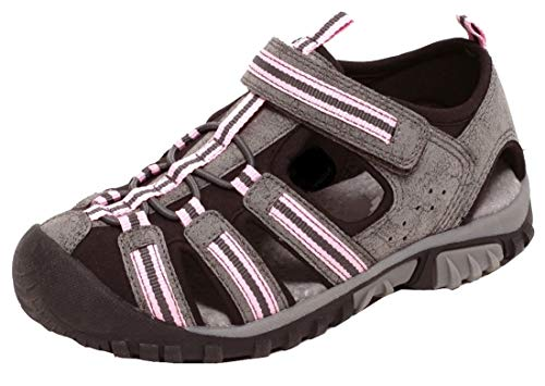 Meisjes sandalen kinderen zomersandalen sport outdoor leer voetbed rubberen zool teenbescherming klittenbandsluiting maat 29-34, grijs/roze