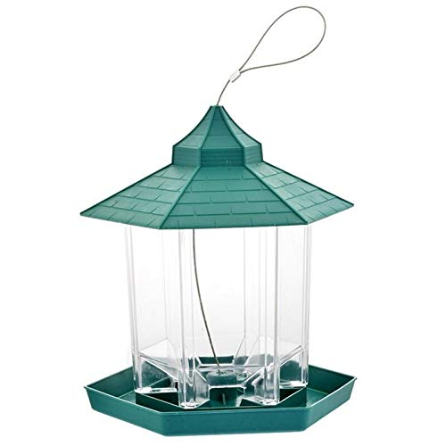 JiaLG Bird Feeder Cage Plastic Green Hanging Bird Feeder Food Container Window Viewing Bird Feeder Hotel Table Outdoor Tool