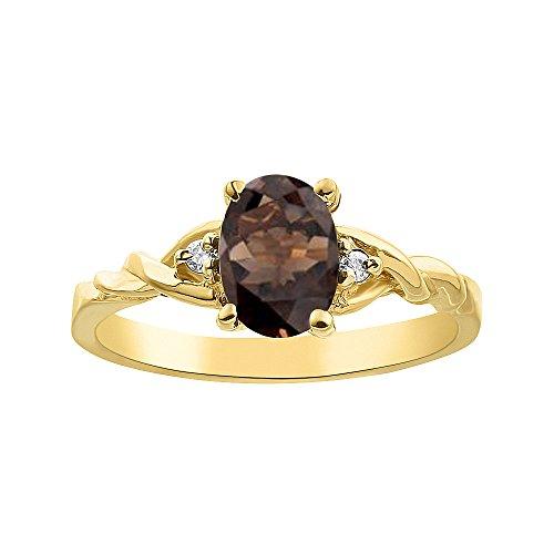 Diamond & Smoky Anillo de cuarzo en oro amarillo de 14 K solitario