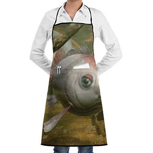 N/A Oceaan Goudvis Hoorns Avontuur Chef Schort Met Zakken Grill Schorten Voor Vrouwen Mannen Keuken Koken BBQ