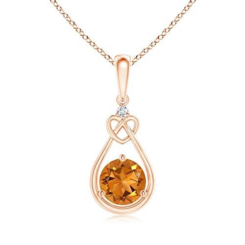 Galleggiante goccia citrino Annodato collana a forma di cuore con diamante citrino (6mm), oro rosa 14 ct, cod. ANG-R-SP1085CTD-RG-AAA-6