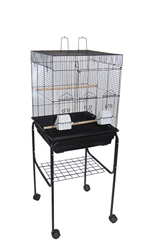 "YML 5924 3/8"" Bar Spacing Flat Top Bird Cage with Stand, 18"" x 18""/Small, Black"