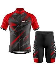 Lixada Fietsshirt voor heren, ademend, korte mouwen, fietsshirt en gevoerde shorts, MTB, fietskleding