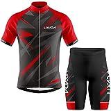 Lixada Ropa de Ciclismo para Hombre,Manga Corta Transpirable + Pantalones Cortos Acolchados,Traje de Ropa de Bicicleta de Montaña (Rojo+Negro, XL)