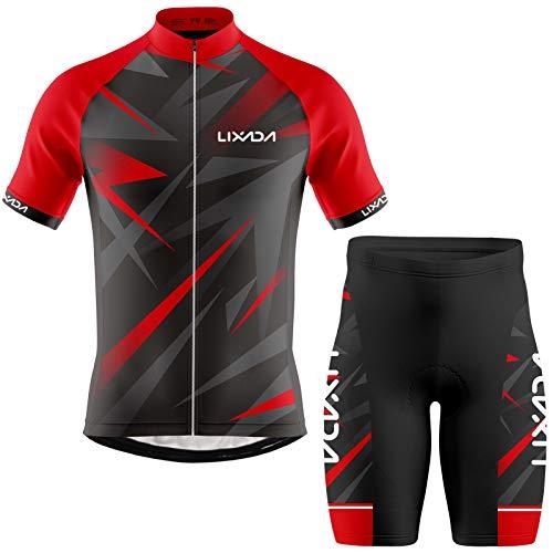 Lixada Ropa de Ciclismo para Hombre,Manga Corta Transpirable + Pantalones Cortos Acolchados,Traje de Ropa de Bicicleta de Montaña (Rojo+Negro, M)