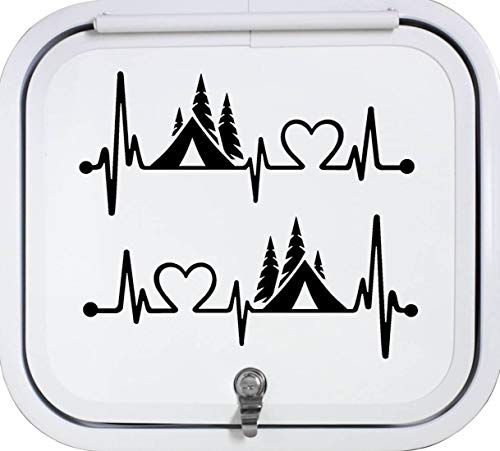 Best Design Amazing 2-Count Camper Tent Heartbeat Lifeline Monitor Camping Decal Sticker for Car Truck Laptop Trailer Boat and Stick Decals - Made in USA