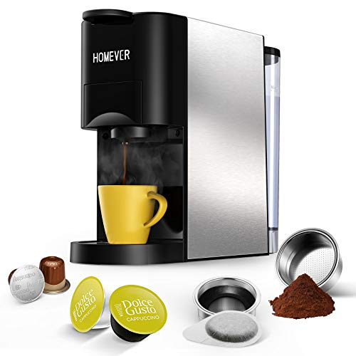Nespresso Machine, HOMEVER 4 in 1 Multi-Function Mini Espresso Machine, 25s Fast Brew and 19 Bar Single Serve Coffee Maker, Compatible with Nespresso Original, Dolce Gusto, Starbucks, ESE pods and Ground Espresso.