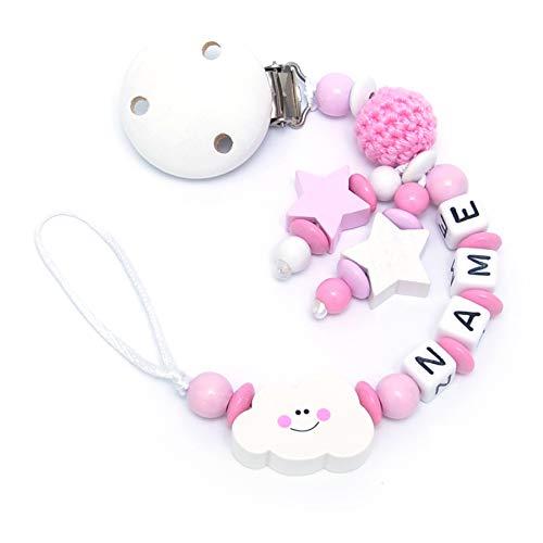 Baby SCHNULLERKETTE mit NAMEN - Schnullerhalter mit Wunschnamen - Mädchen Motiv Häkelperle und Wolke in rosa