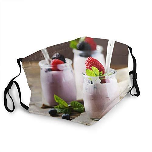 Comfortable Fashion Face Mask Yoghurt Berries Jars Raspberries Water Mouth Face Protect Bandana Balaclavas Dust Mask