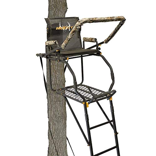 Muddy -Excursion 17' Ladder Stand (Huntsman Deluxe), Silencer Technology-No Metal On Metal Contact