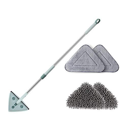 Aoligei Mopa de Limpieza Triangular, Mini Mopa Giratoria de 180 Grados, con Mango Telescópico, para el Techo de la Pared del Hogar, el Piso y el AutomóvilMop Head*4
