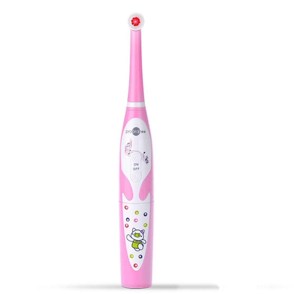 ヒロイック実業家応用子供用電動歯ブラシ美白歯柔らかい美しい漫画アニメ音楽歯ブラシ (色 : Pink)
