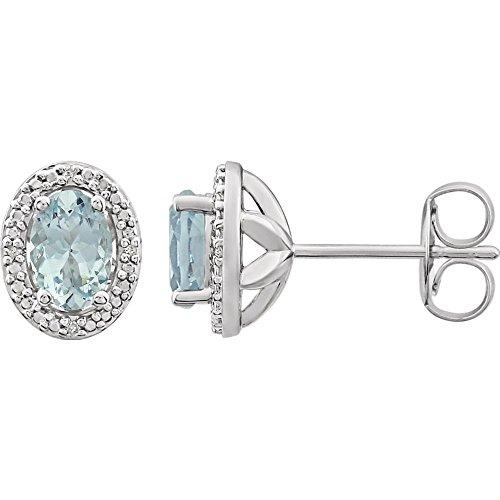 Pendientes de plata de ley 925 con aguamarina pulida y diamantes de 0,025 Dwt para mujer