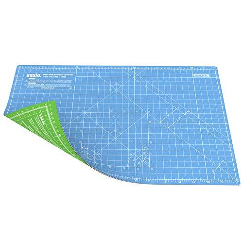 ANSIO A3 5 Strati di Tappetino da Taglio a Doppia Faccia Imperiale/metrico Auto-guarigione 17 x 11 Pollici (42 x 27 cm) - Cielo blu/Verde lime