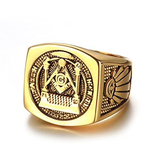 FLQWLL Anillo De Masonería De Acero Inoxidable, Anillo De Locomotora De Sello De Masonería De Oro, Regalo De Amuleto Religioso,Oro,11