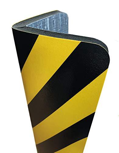 Protector para columnas parking de alta calidad con adhesivo ultra fuerte, espuma ignífuga, protector paragolpes franja amarillo/negro, 700x300 mm y 20 mm ancho