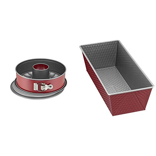 Kaiser Classic Plus Springform 26 cm mit Flach- und Rohrboden, 2 Böden, runde Backform, auslaufsicher, antihaftbeschichtet, rot & Classic Plus Backform Kastenform 25 cm, rot