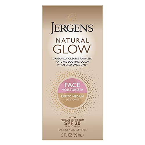 Jergens Natural Glow Face Moisturizer with SPF 20, Self Tanner for Fair to Medium Skin Tone, Daily Facial Sunscreen Lotion, 2 Ounce, Oil Free