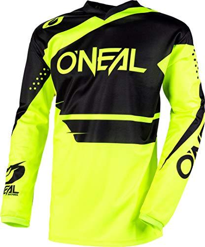 O\'NEAL | Motocross-Jersey Langarm | MX Enduro | Gepolsterter Ellbogenschutz, V-Ausschnitt, atmungsaktiv | Element Jersey Racewear | Erwachsene | Schwarz Neon-Gelb | Größe XL