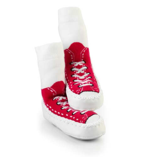 Chaussons style baskets Mocc Ons - Rouge - Red, 12-18 mois