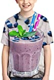 Youth T-Shirts, Blueberry Milkshake Graphics Full Printed Short Sleeve Crew Neck Tees, Summer Tops for Boys,X-Large