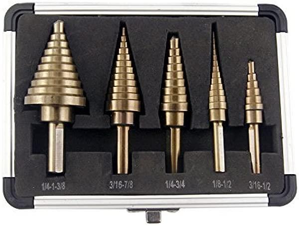 CO Z 5pcs Hss Cobalt Multiple Hole 50 Sizes Step Drill Bit Set With Aluminum Case