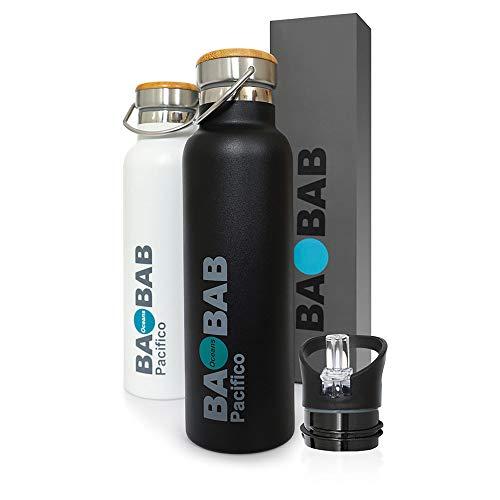 Pacifico - Botella térmica en Acero Inoxidable 600ml, Aislamiento al vacio, sin BPA - FINANCIA para PROTECCIÓN Ambiental - Bebidas Calientes o frías Durante 8 Horas - También Deportes y Niños
