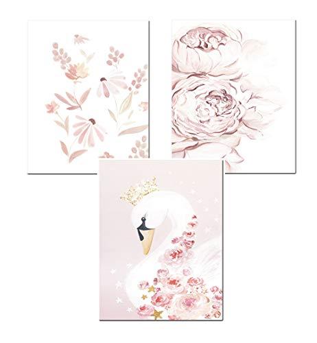 3er Set Kinder Poster Bilder, DIN A4 Poster Babyzimmer ohne Bilderrahmen, Cartoon Muster Wandbilder für Mädchen Junge Zimmer Dekoration (01+12+13,21 x 30 cm)