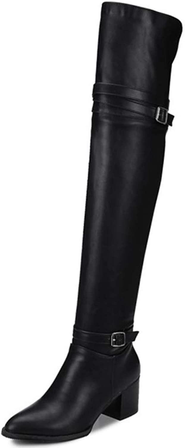 Beautiful - Fashion Women's Over The Knee Waterproof Boots Pull On Wide-Calf Low Block Heel Thigh High Riding Boots