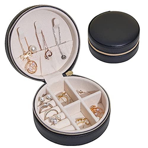 Redondo Caja Joyero para mujer cuero PU Caja Organizadora de Joyas con cremallera pequeño portátil de viaje Caja de Joyas para pulseras / anillos / collar-Negro
