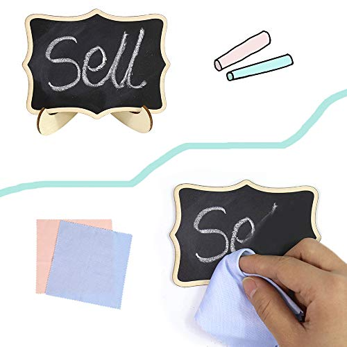 "Tuzico 40 Pack Mini Chalkboard Signs with Stand, 4""x3"" Mini Message Board Signs with Easel, Wedding Table Signs and 2pcs Cleaning Cloths for Table Signs, Food Signs or Special Event Decoration Photo #5"