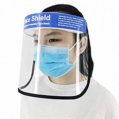 Vilihkc Safety Face Shield Reusable Full Face Transparent Breathable Visor Windproof Dustproof Hat Shield Protect Eyes and Face with Protective Clear Film Elastic Band (2PCS)