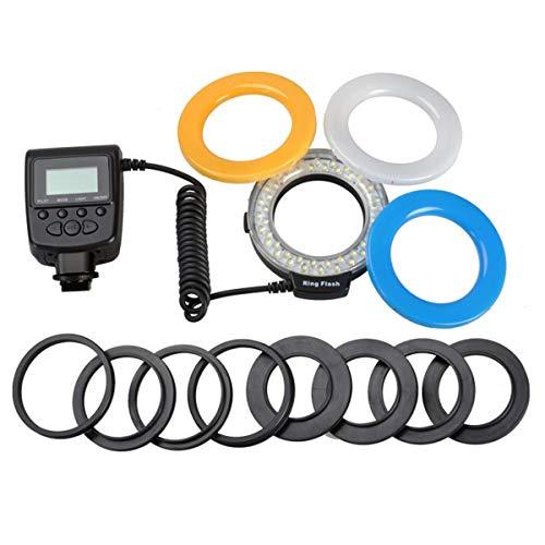 healthwen Macro LED Ring Flash Light Voor Canon Voor Nikon Voor Panasonic Voor Pentax Voor Olympus DSLR Camera zwart