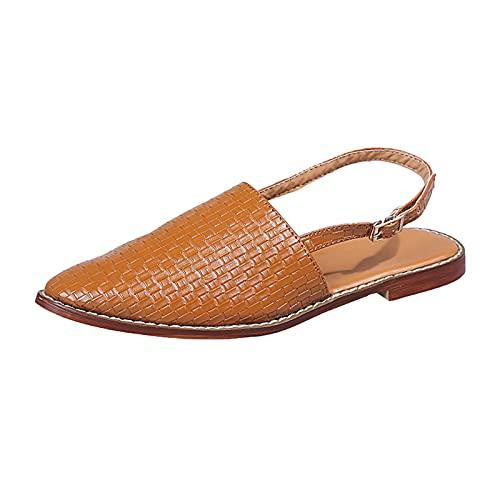 Sandalias con cordones Sandalias planas de mujer Sandalias informales de tacón bajo Zapatos de veranoZapatillas huecas transpirables zapatos de agujero plano