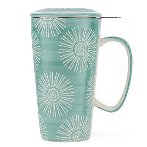 Taimei Teatime Hand Painted Tea/Coffee Mug, Ceramic Tea Cup with Infuser and Lid, 17 fl oz Large Tea Maker for...