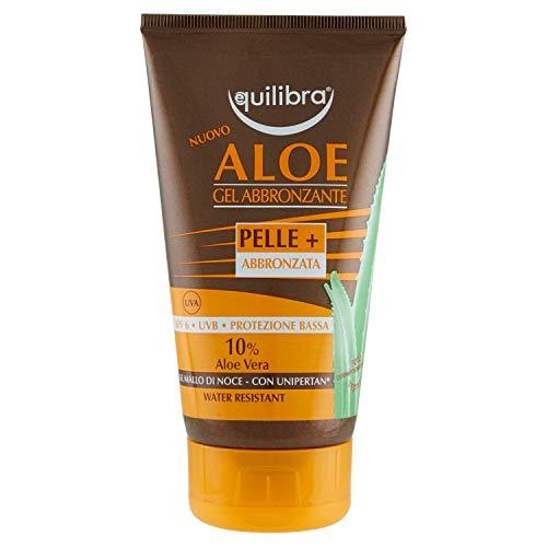 Equilibra Solari, Aloe Gel Abbronzante, Preparato Autoabbronzante a Base di Aloe Vera, con Complesso Vegetale Attivatore di Melanina per un Colorito Uniforme e Duraturo, 150 ml