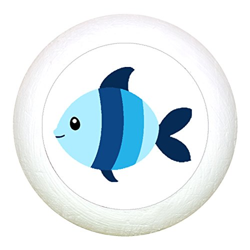 Möbelknauf Möbelknopf Möbelgriff Jungen hellblau dunkelblau blau Massivholz Buche - Kinder Kinderzimmer Fisch blau hellblau gestreift Meerestiere maritim - weiss