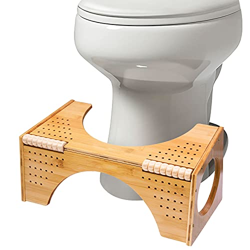 Squatting Toilet Stool, Non-Slip Bamboo Toilet Potty Step Stool, 2-in-1 Portable Bathroom Squatting Urinal with Flip Adjustment for Adults Children