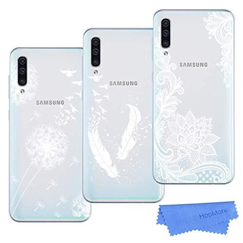 HopMore 3X A70 Hüllen, Samsung Galaxy A70 Hülle Silikon Handyhüllen Transparent Schutzhülle Durchsichtig Elegant Blume Muster Dünn Silikonhülle Slim Cases Cover - Design 2
